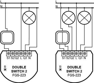 Fibaro Double switch 2 Z-Wave plus fgs-223 aansluitschema