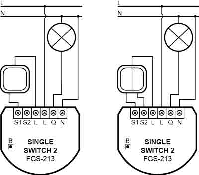 Fibaro Single switch 2 Z-Wave plus fgs-213 aansluitschema